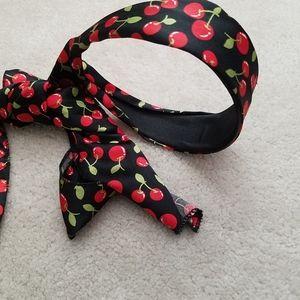 Cherry Black Headband Ribbon Turban Bow Hairband